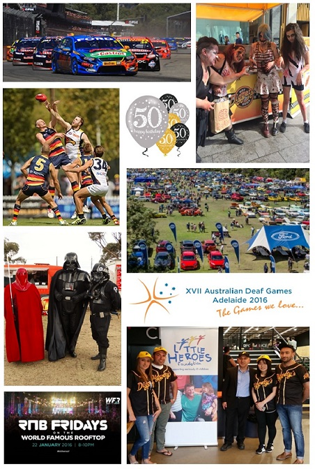 Diggety's Hot Dogs event collage, these are some of the events we have attended. We have been selling hot dogs in Rundle Mall in Adelaide, and also participated with the Little Heroes Foundation.